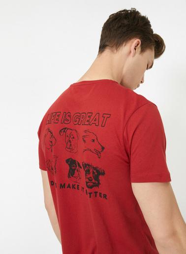 Koton Bisiklet Yaka Kisa Kol Sirt Baskili T-Shirt Kırmızı